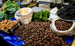 Fresh Organic Chestnuts At A Street Market Royalty Free Stock Image
