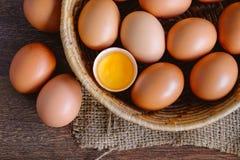 Fresh organic chicken eggs stock photo