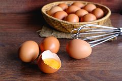 Fresh organic chicken eggs stock photo