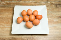 Fresh, organic, chicken eggs on plates. Fresh, organic, chicken eggs on the plate Royalty Free Stock Photography
