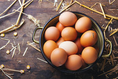Fresh organic chicken eggs. On a wooden table Stock Images