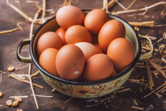 Fresh organic chicken eggs. On a wooden table Stock Photography