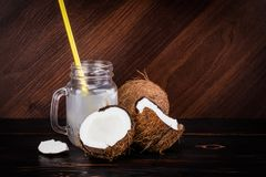 Fresh Organic Coconut Water in a Glass. Food background.  stock photography