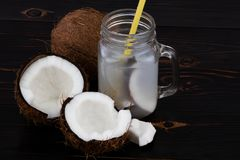 Fresh Organic Coconut Water in a Glass. Food background.  stock image