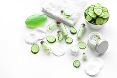 Fresh organic cosmetics with cucumber. Cream and lotion on white background copyspace. Fresh organic cosmetics with cucumber. Cream and lotion on white stock photography