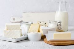 Free Fresh Organic Dairy Products. Cheese, Butter, Sour Cream, Yoghurt And Milk Royalty Free Stock Photo - 103864955