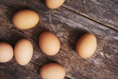 Fresh Organic Eggs. On Aged Wooden Planks Stock Image