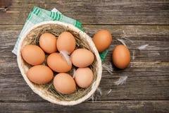 Fresh organic eggs. In a basket stock image