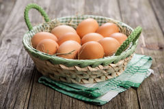 Fresh organic eggs. In a basket royalty free stock image