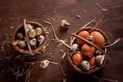 Fresh organic eggs in the basket. Rustic still life royalty free stock photos