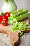 Fresh organic fennel, celery and tomatoes Stock Image