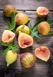 Fresh organic figs. On the wooden table Stock Photography