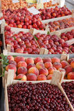 Fresh organic fruit in a crates Stock Photo
