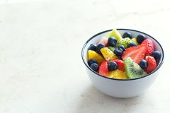 Fresh organic fruit salad with chia seeds Stock Photography