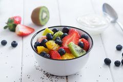 Fresh organic fruit salad with chia seeds Stock Image