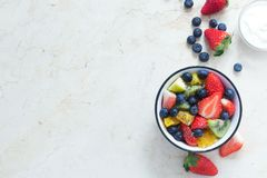 Fresh organic fruit salad with chia seeds Royalty Free Stock Photography