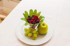 Fresh Organic Fruit Salad on a plate. Stock Images