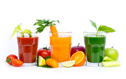 Fresh, organic fruit and vegetable juices Stock Image