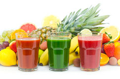 Fresh, organic fruit and vegetable juices Stock Photography