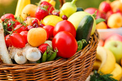 Fresh organic fruit and vegetables Stock Photos
