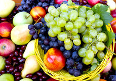 Fresh organic fruits. In the wicker basket stock images