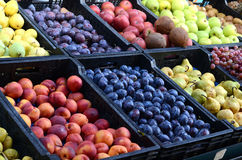 Fresh and organic fruits at farmers market Stock Image