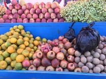 Fresh organic Fruits on street market stall. New Fresh organic Fruits on street market stall Stock Images