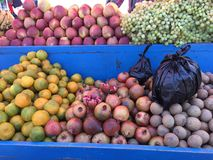 Fresh organic Fruits on street market stall Stock Photography