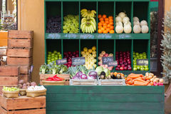 Fresh organic Fruits and vegetables. In market Stock Photos