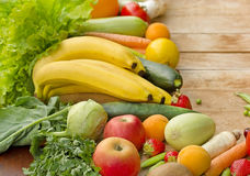 Fresh organic fruits and vegetables. On a table stock photos