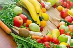 Fresh organic fruits and vegetables. The abundance of fresh organic fruits and vegetables royalty free stock photography