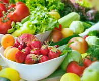 Fresh organic fruits and vegetables close-up Royalty Free Stock Images