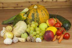 Fresh organic fruits and vegetables from local farms. Diet raw food ready to eat. Stock Image