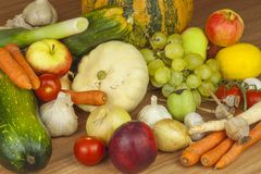 Fresh organic fruits and vegetables from local farms. Diet raw food ready to eat. Fruit and vegetables on the farm Stock Photography