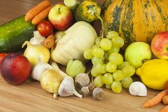 Fresh organic fruits and vegetables from local farms. Diet raw food ready to eat. Royalty Free Stock Photography