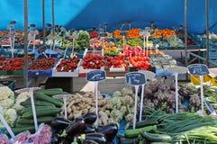 Fresh food market stall stock image