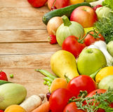 Fresh organic fruits and vegetables. On the table stock photography