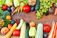 Fresh organic fruits and vegetables Royalty Free Stock Images
