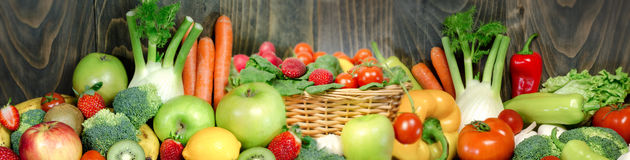 Fresh and organic fruits and vegetables. For your healthy and proper nutrition you need fresh and organic fruits and vegetables Royalty Free Stock Image
