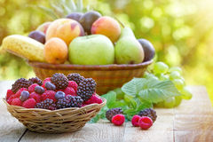 Fresh organic fruits in wicker basket Stock Photos