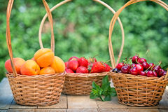 Fresh organic fruits in wicker baskets Stock Photos