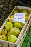 Fresh organic fruits in the wooden basket at Farmer`s market stock images