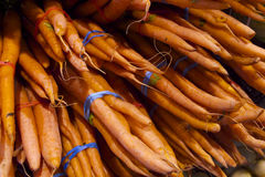 Fresh organic garden grown carrots in Vancouver's Grandville Island Market. Some of the freshest organic products in Vancouver, Canada: Grandville island Market royalty free stock photos
