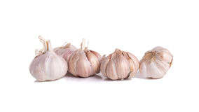 Fresh organic garlic, cloves and cutted garlic clove isolated on. White background Stock Photos