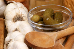Fresh organic garlic and gherkin in a bowl. Some fresh organic garlic and gherkin in a bowl royalty free stock photography