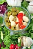 Fresh organic garlic salad with green olive Stock Photo