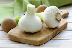 Fresh organic garlic on a wooden board Royalty Free Stock Image