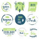 Fresh, organic, gluten free, 100% bio, premium quality, locally. Grown, healthy food natural products, farm fresh stickers. Vector menu organic labels, food Stock Illustration
