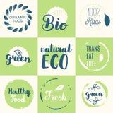 Fresh, organic, gluten free, 100% bio, premium quality, locally. Grown, healthy food natural products, farm fresh stickers. Vector menu organic labels, food royalty free illustration