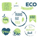 Fresh, organic, gluten free, 100% bio, premium quality, locally. Grown, healthy food natural products, farm fresh stickers. Vector menu organic labels, food Stock Images